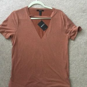 Forever 21 rustic orange cut out shirt